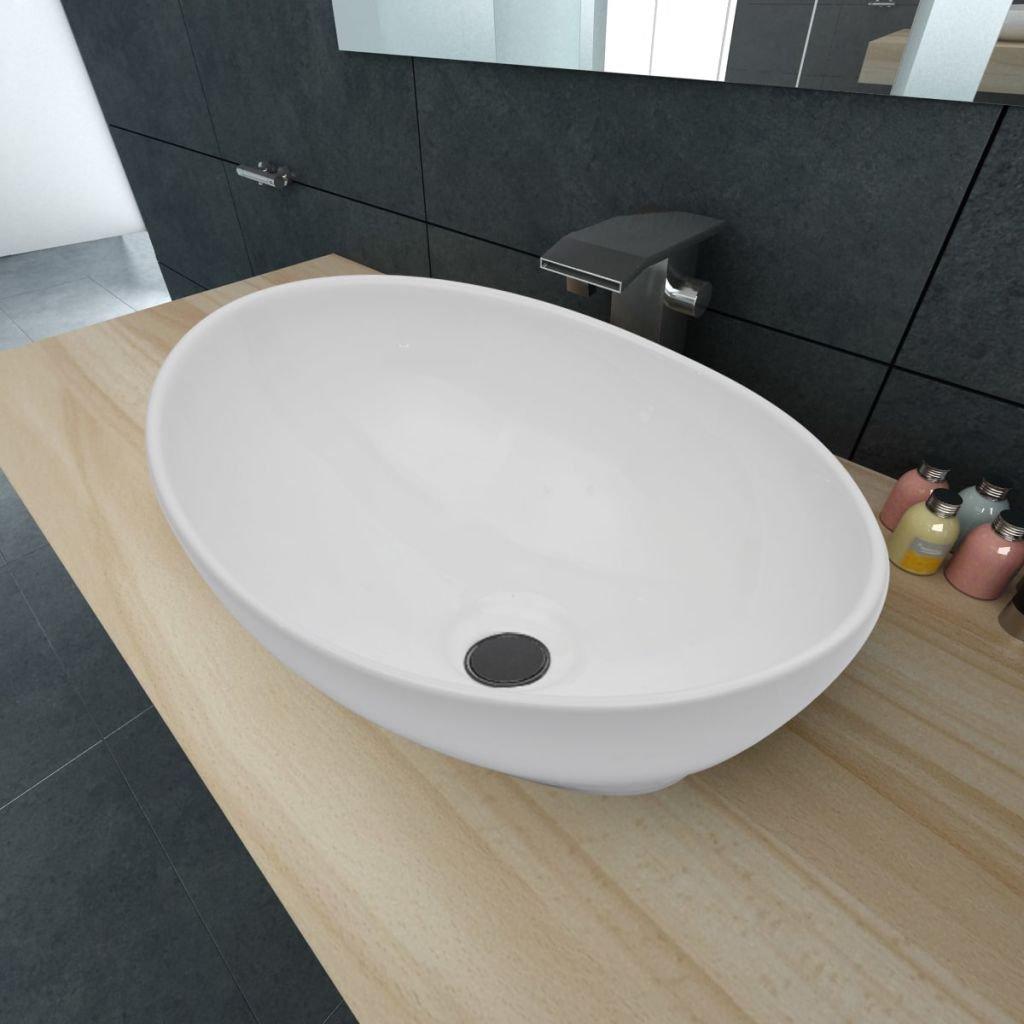 Luxusní keramické oválné umyvadlo - 40x33 cm   bílé
