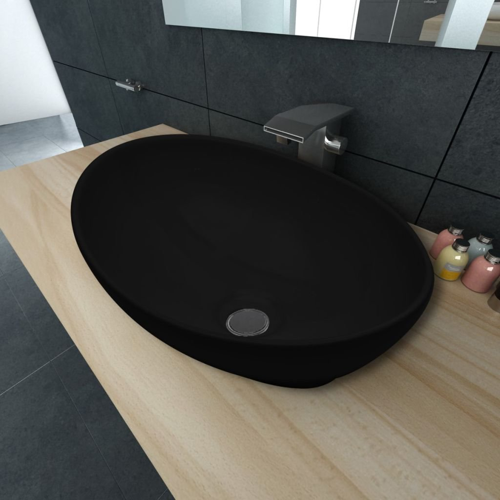 Luxusní keramické oválné umyvadlo - 40x33 cm   černé