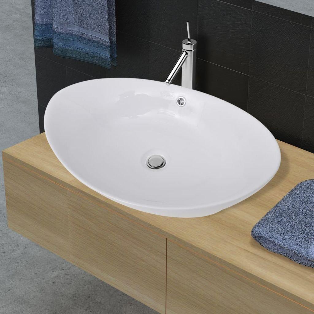 Luxusní keramické oválné umyvadlo s přepadem | 59x38,5 cm