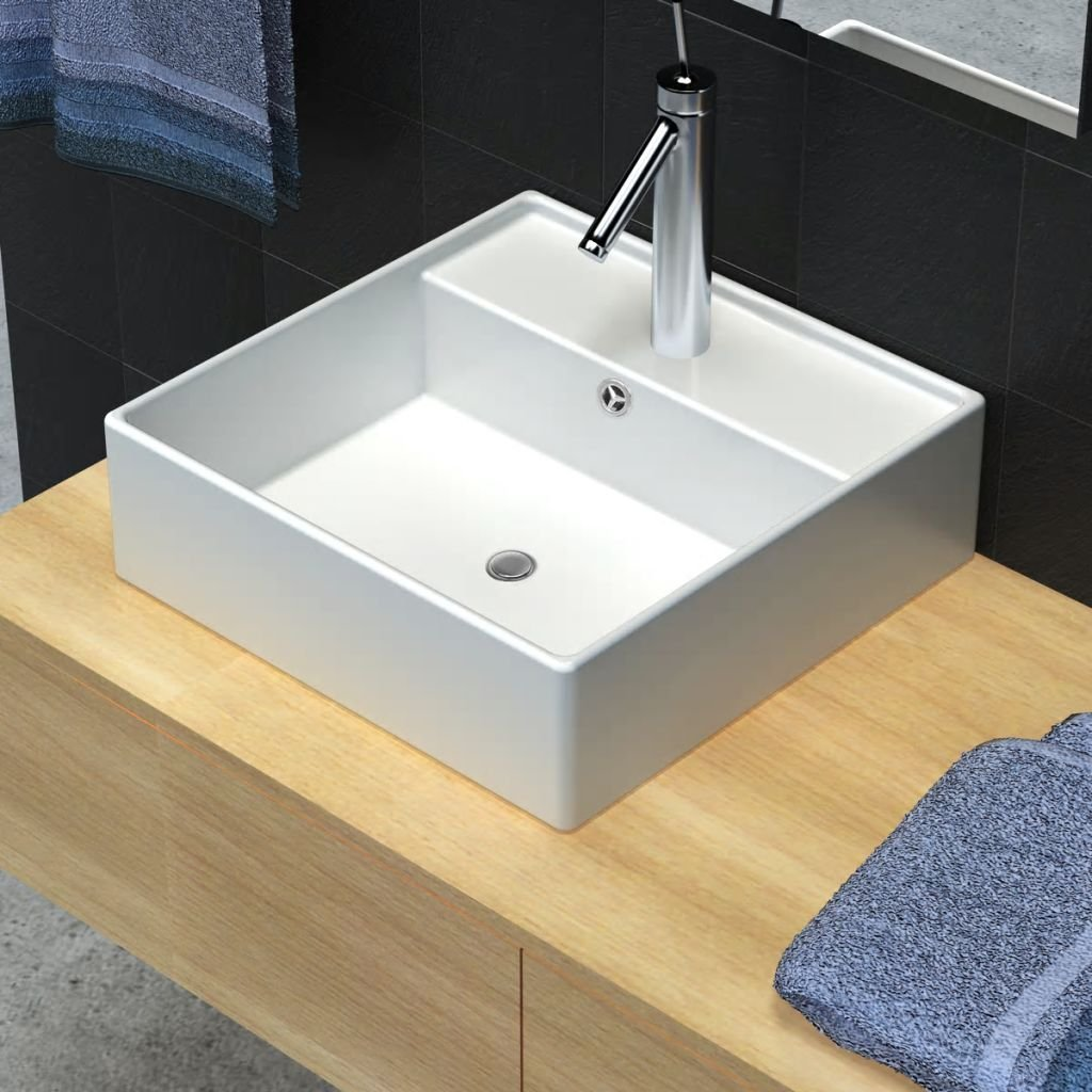 Luxusní čtvercové keramické umyvadlo s přepadem | 41x41cm