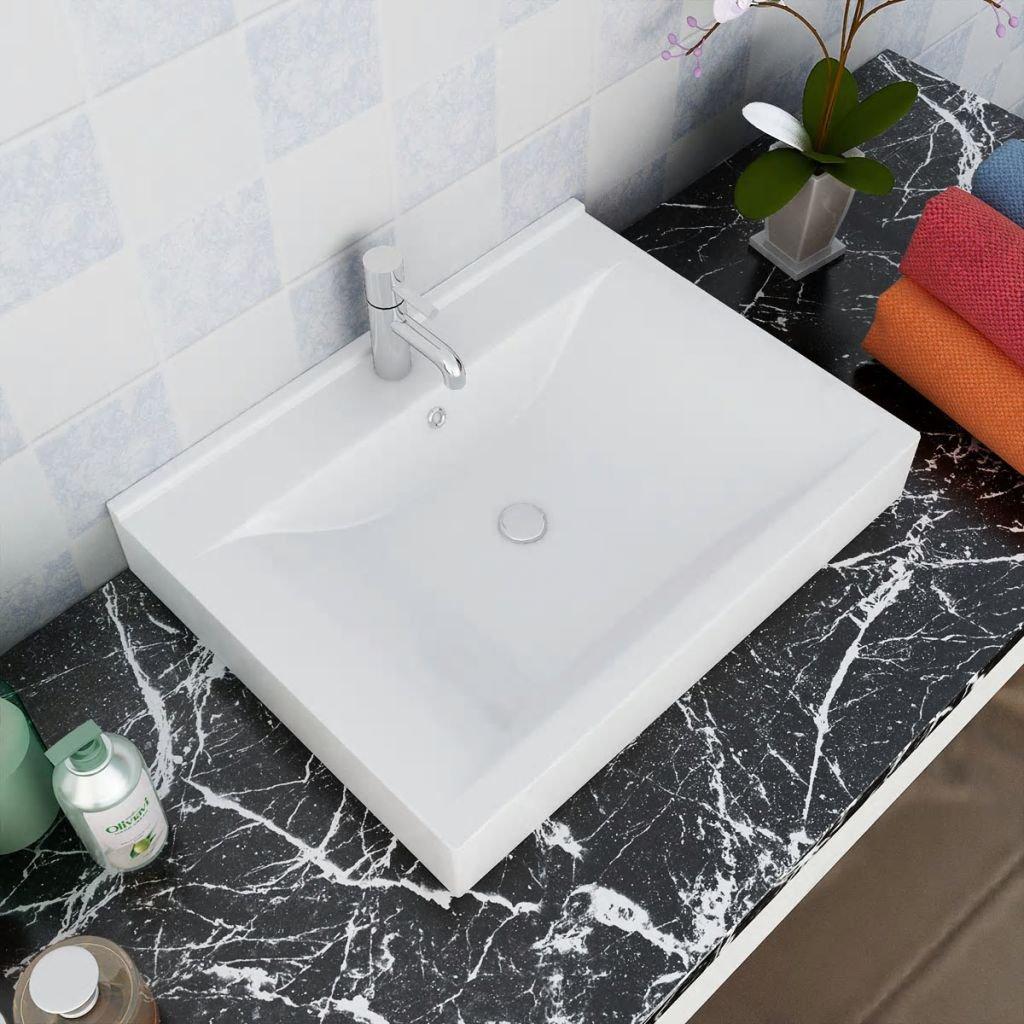 Luxusní obdélníkové keramické umyvadlo - bílé | 60x46 cm
