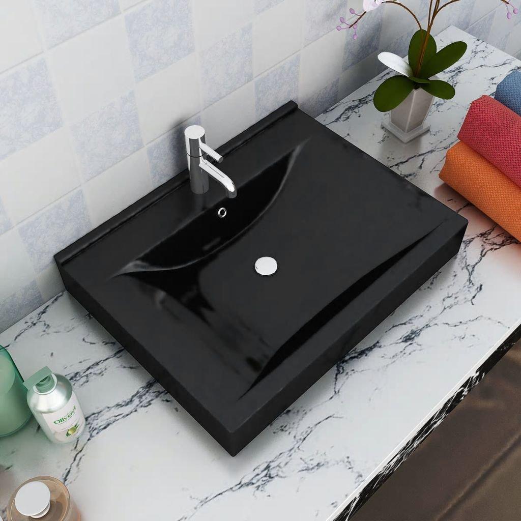 Luxusní obdélníkové keramické umyvadlo - černé | 60x46 cm