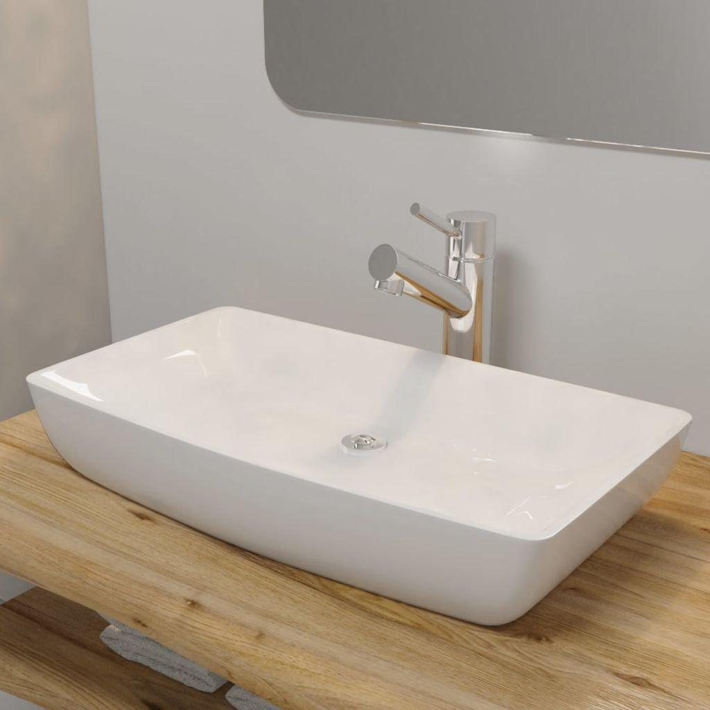 Luxusní keramické obdelníkové umyvadlo - 71x39 cm | bílé