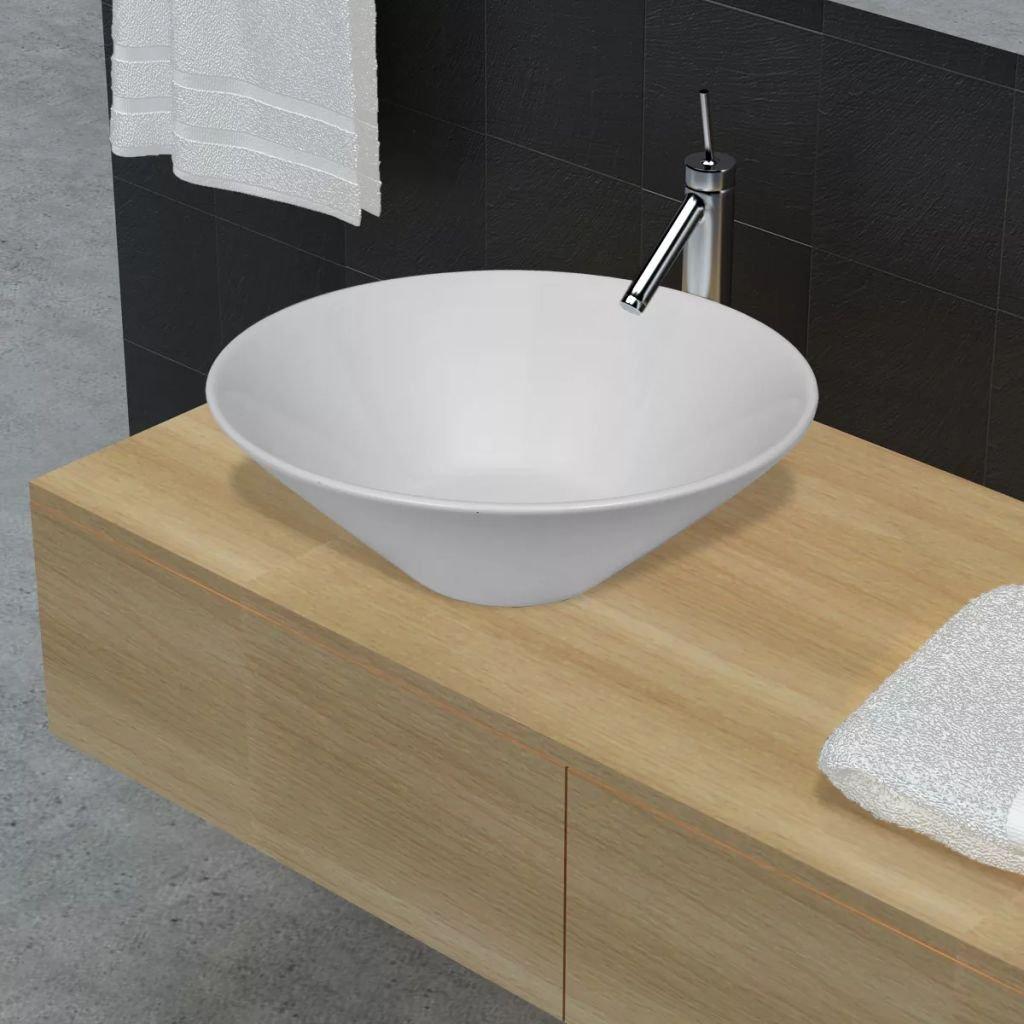 Keramické umyvadlo ve tvaru mísy | bílé