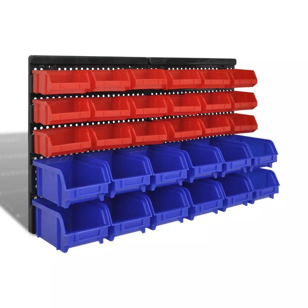 Nástěnné zásobníky do garáže 30 ks sada modré a červené