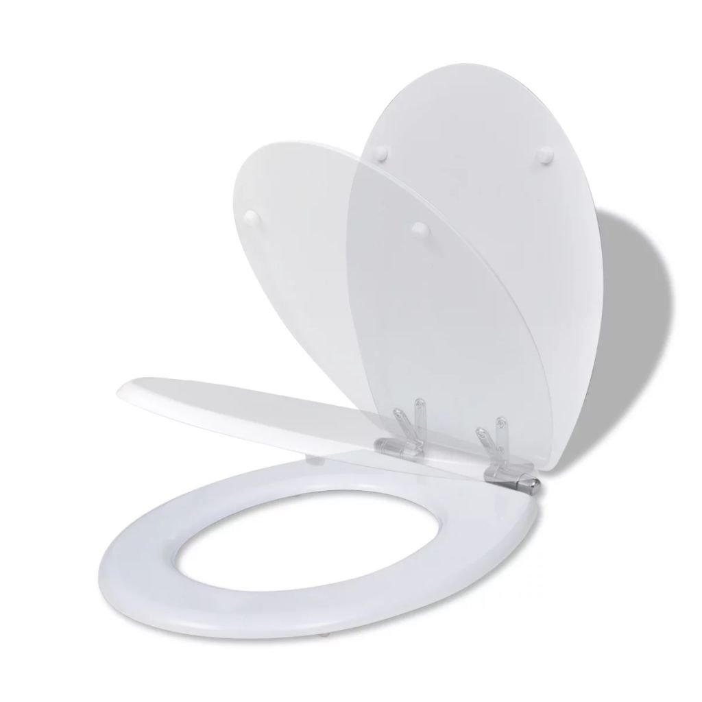 WC toaletní sedátko z MDF s pomalým sklápěním - jednoduchý design | bílé