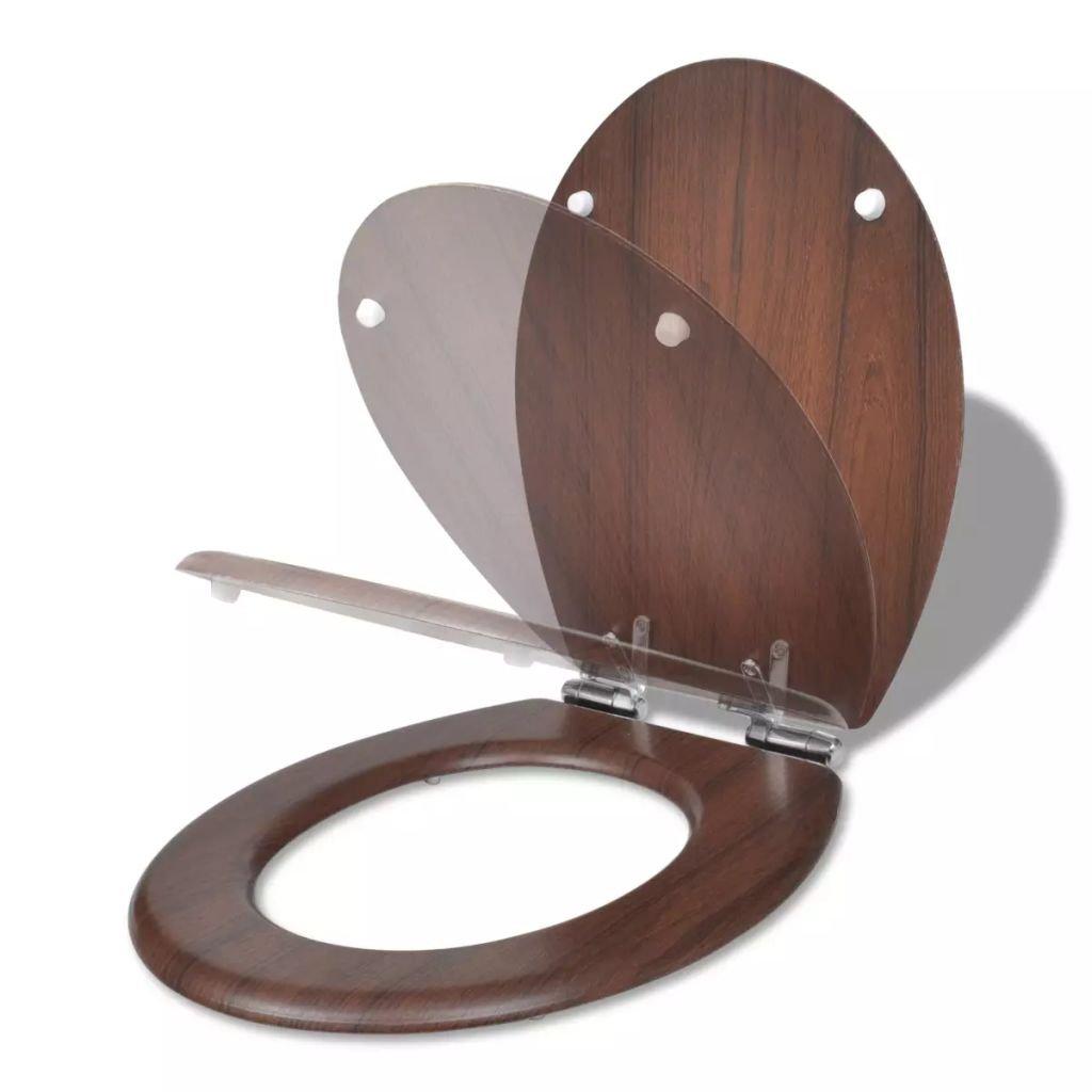 WC toaletní sedátko z MDF s pomalým sklápěním - jednoduchý design | dřevo