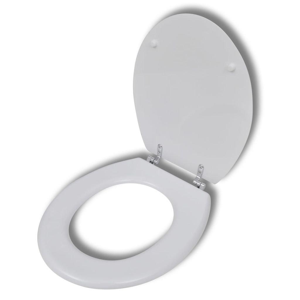 WC toaletní sedátko z MDF s tvrdým zavíráním - jednoduchý design | bílé