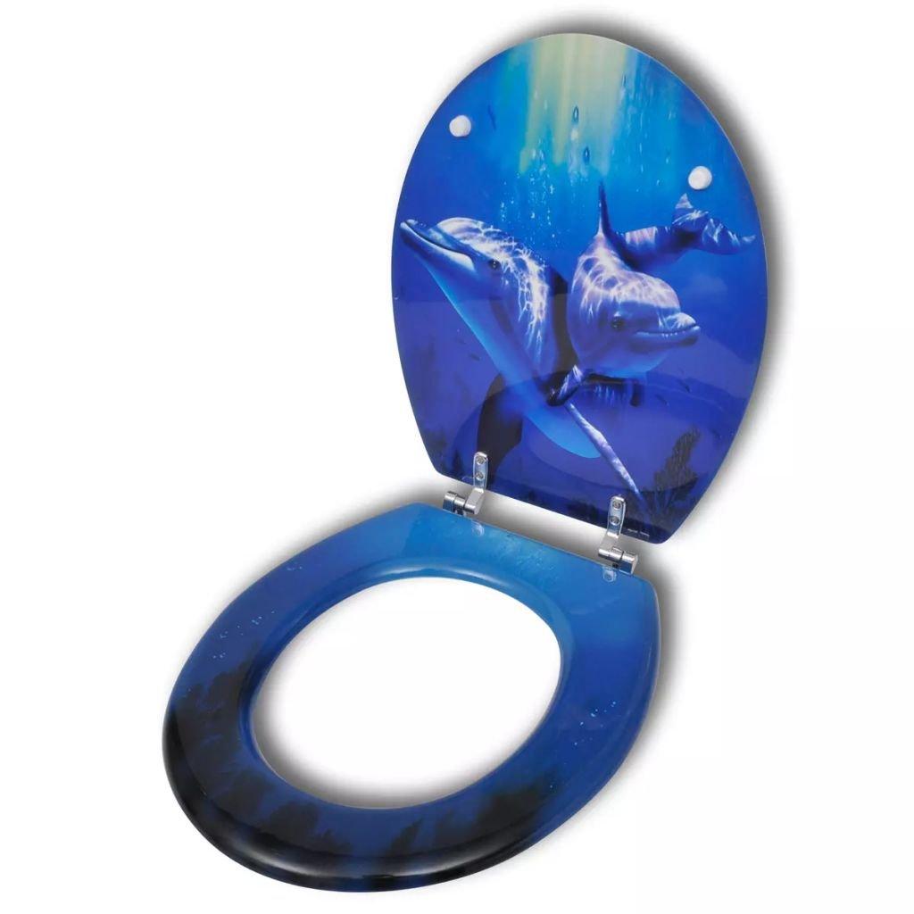 WC toaletní sedátko z MDF s tvrdým zavíráním | potisk delfíni