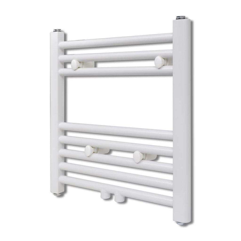 Žebříkový radiátor na ručníky - rovný - ústřední topení - bílý | 480x480 mm