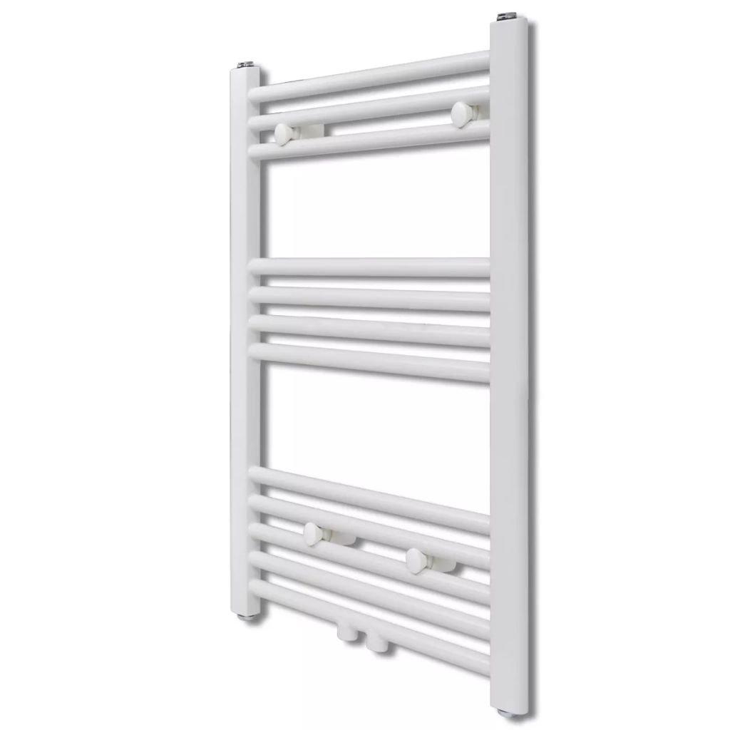 Žebříkový radiátor na ručníky - rovný - ústřední topení - bílý | 500x764 mm