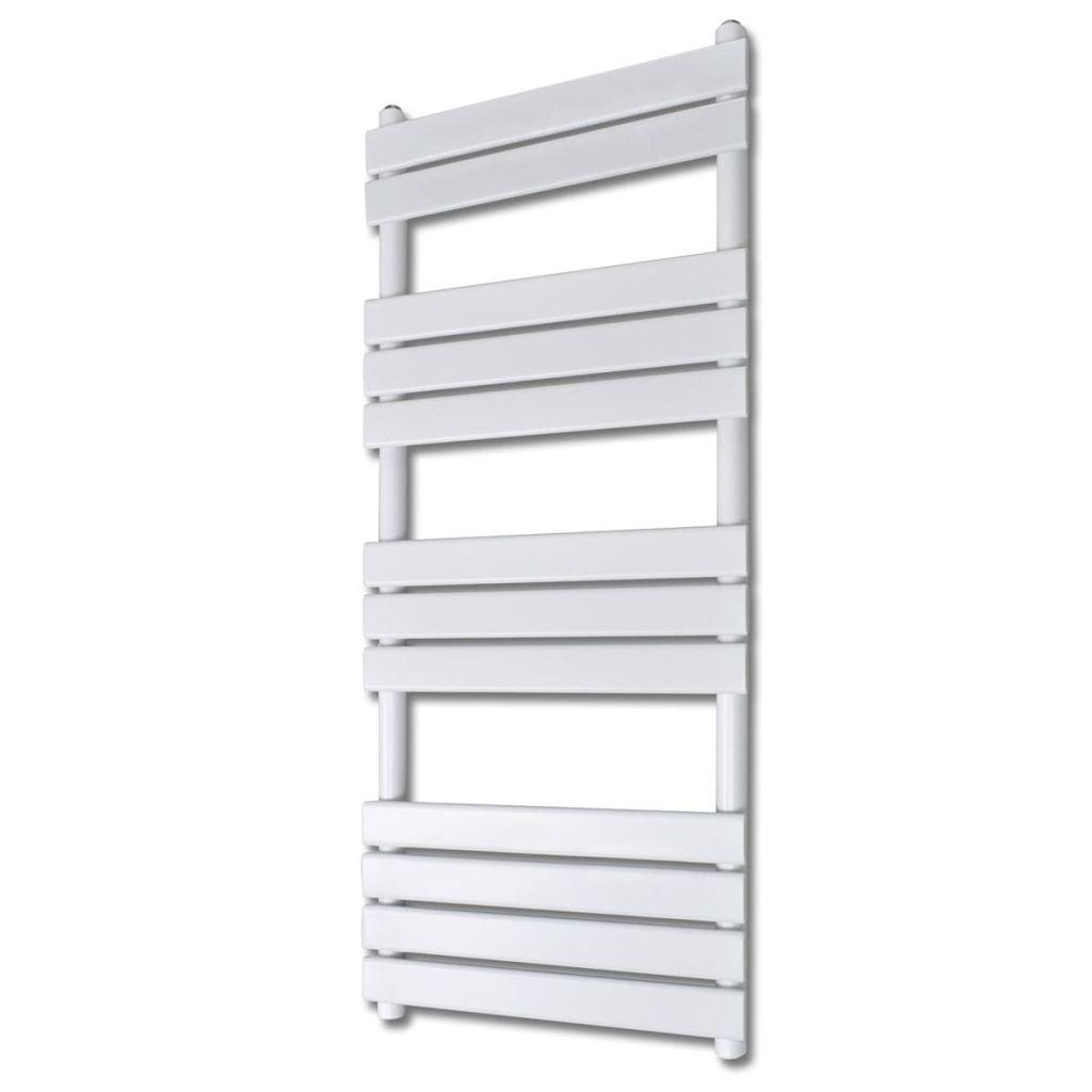 Žebříkový radiátor na ručníky - rovný - ústřední topení - bílý | 600x1400 mm