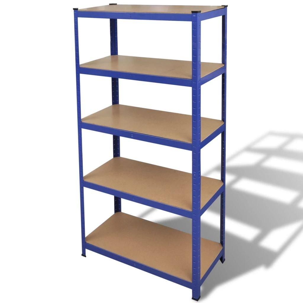 Ocelový regál vhodný na ukládání nářadí - modrý | 90x40x180 cm