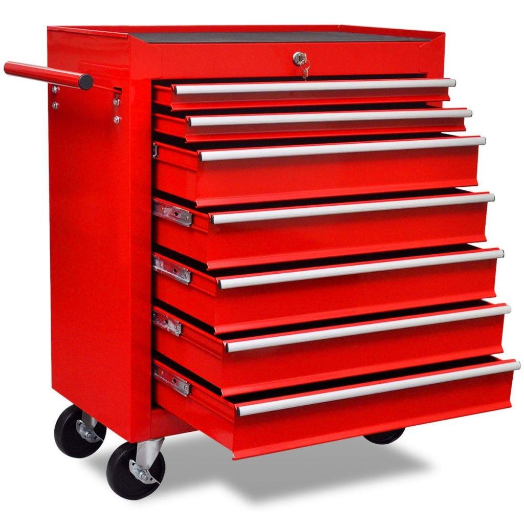 Červený dílenský vozík na nářadí 7 zásuvek
