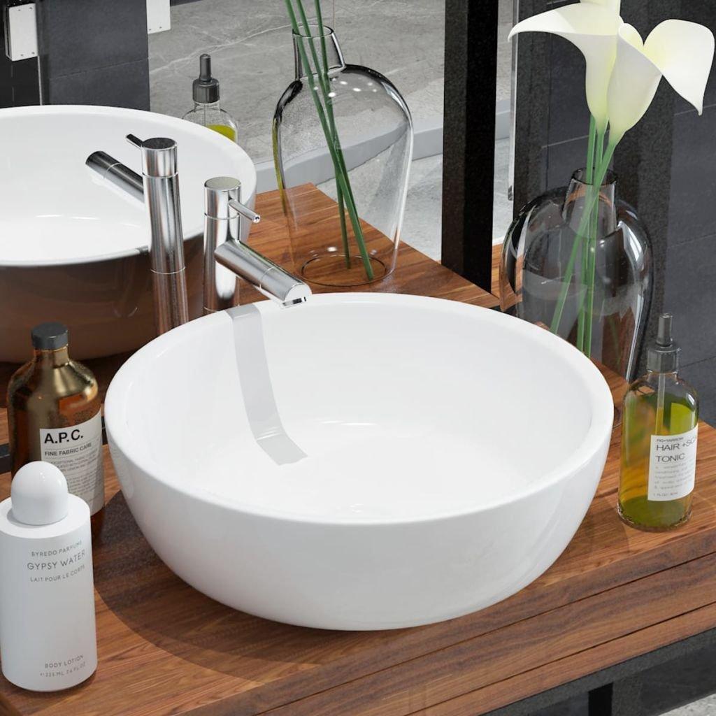 Umyvadlo - kulaté - keramické - bílé | 42x12 cm