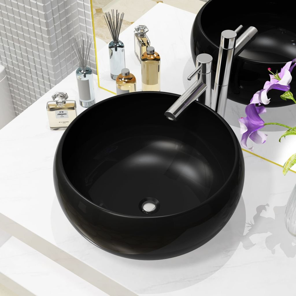 Keramické umyvadlo - kulaté - černé | 40x16 cm