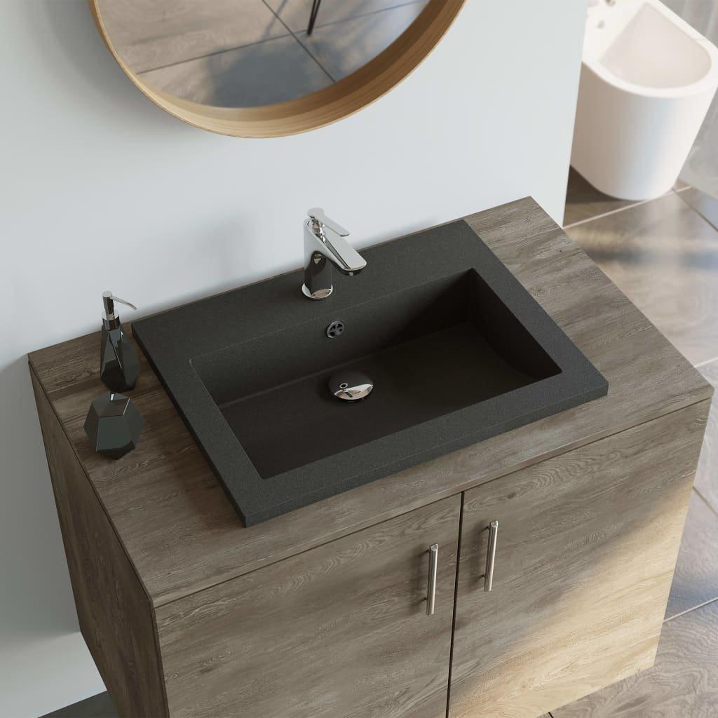 Žulové umyvadlo - 600x450x120 mm | černé