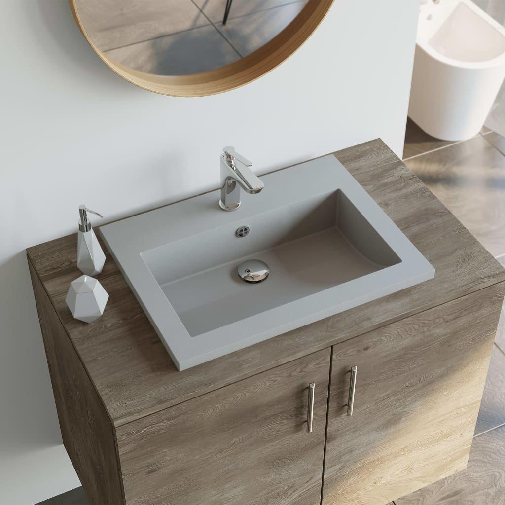 Žulové umyvadlo - 600x450x120 mm   šedé