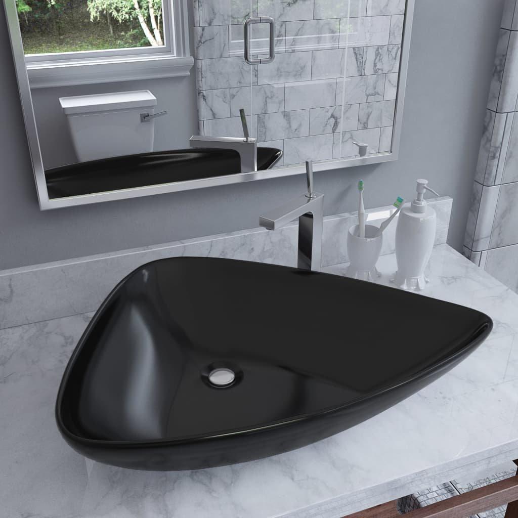 Keramické umyvadlo - trojúhelníkové - černé | 645x455x115 mm