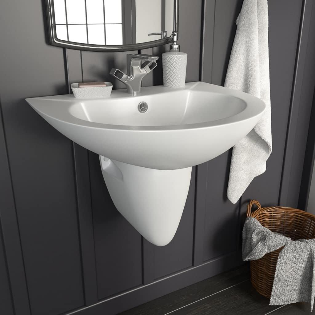 Nástěnné umyvadlo - keramické - bílé | 520x450x190 mm