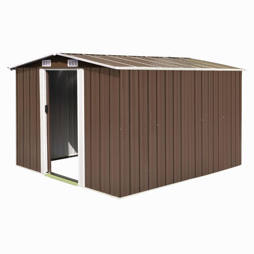 Zahradní domek Weston - kovový - hnědý | 257x298x178 cm