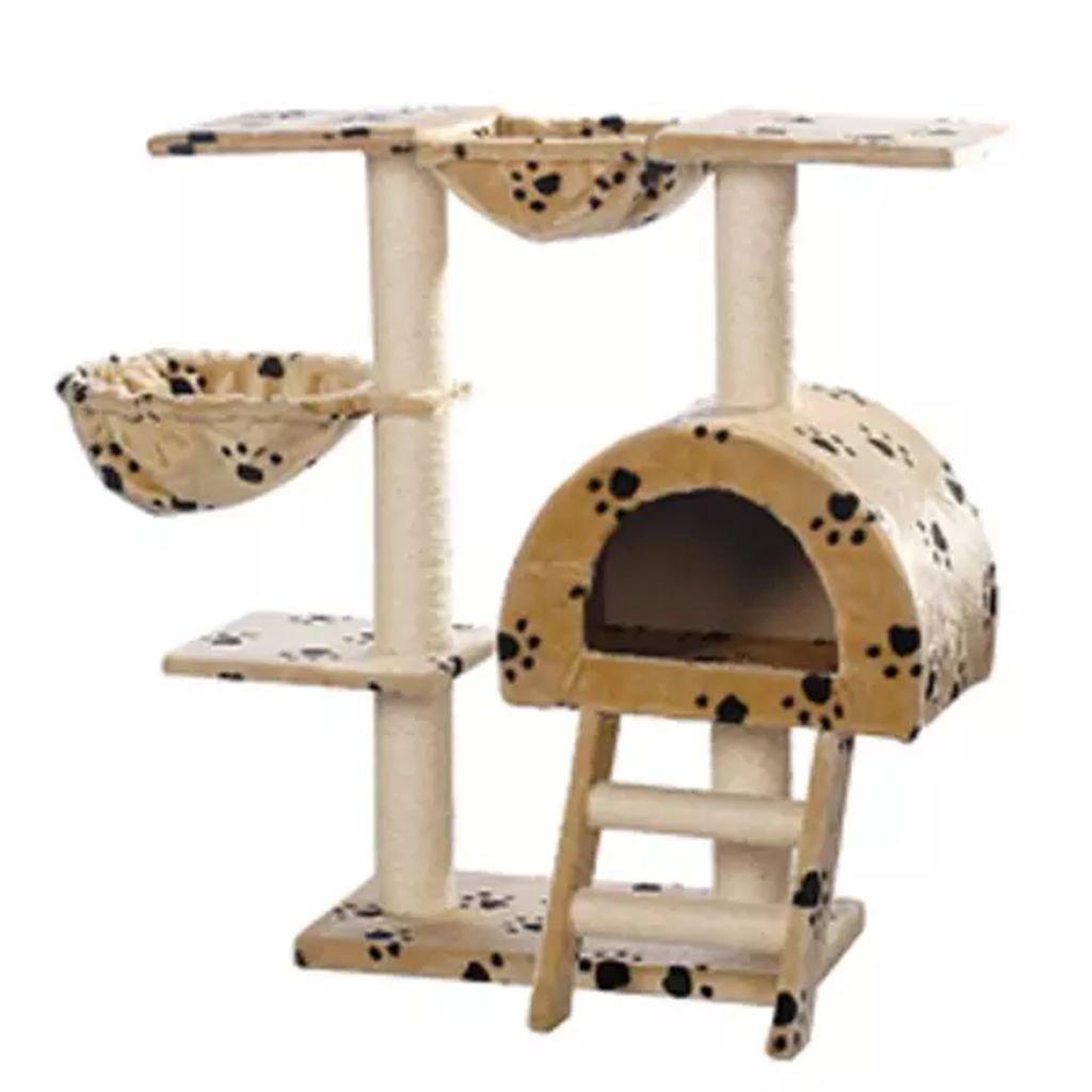 Kočičí škrabadlo/strom s pelíškem - béžové s otisky tlapek | 105 cm