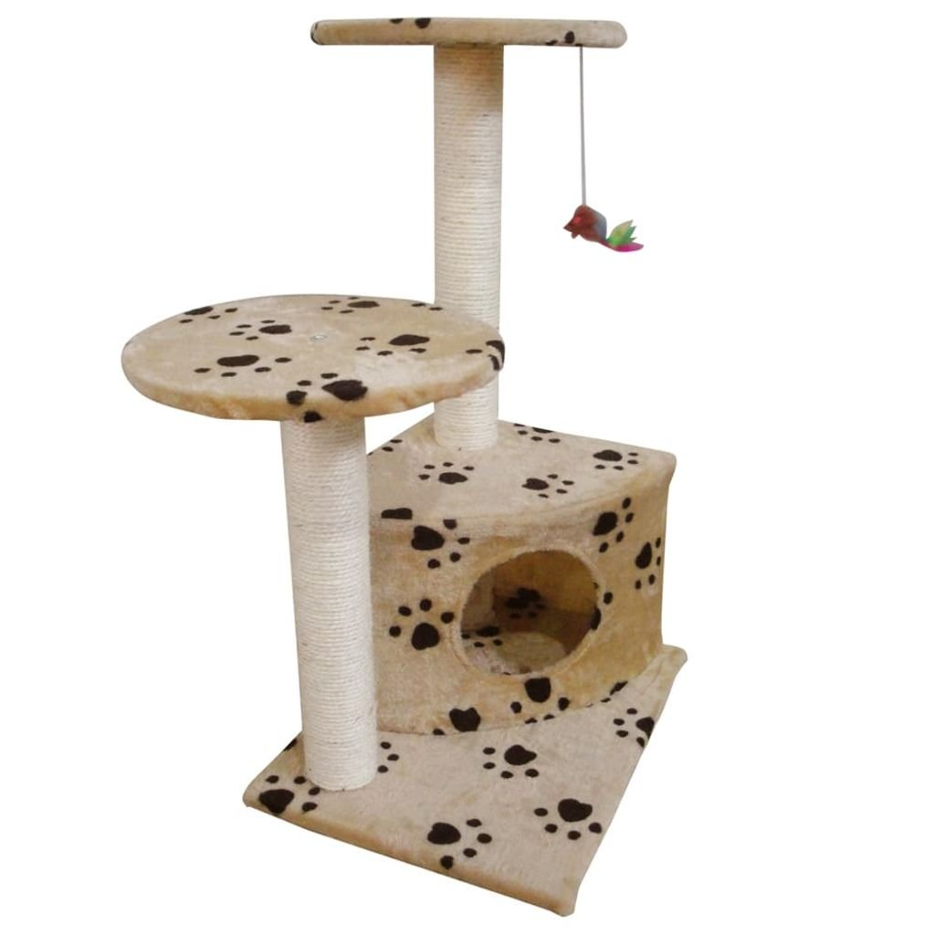 Kočičí škrabadlo/strom s pelíškem - béžový s otisky tlapek | 70 cm