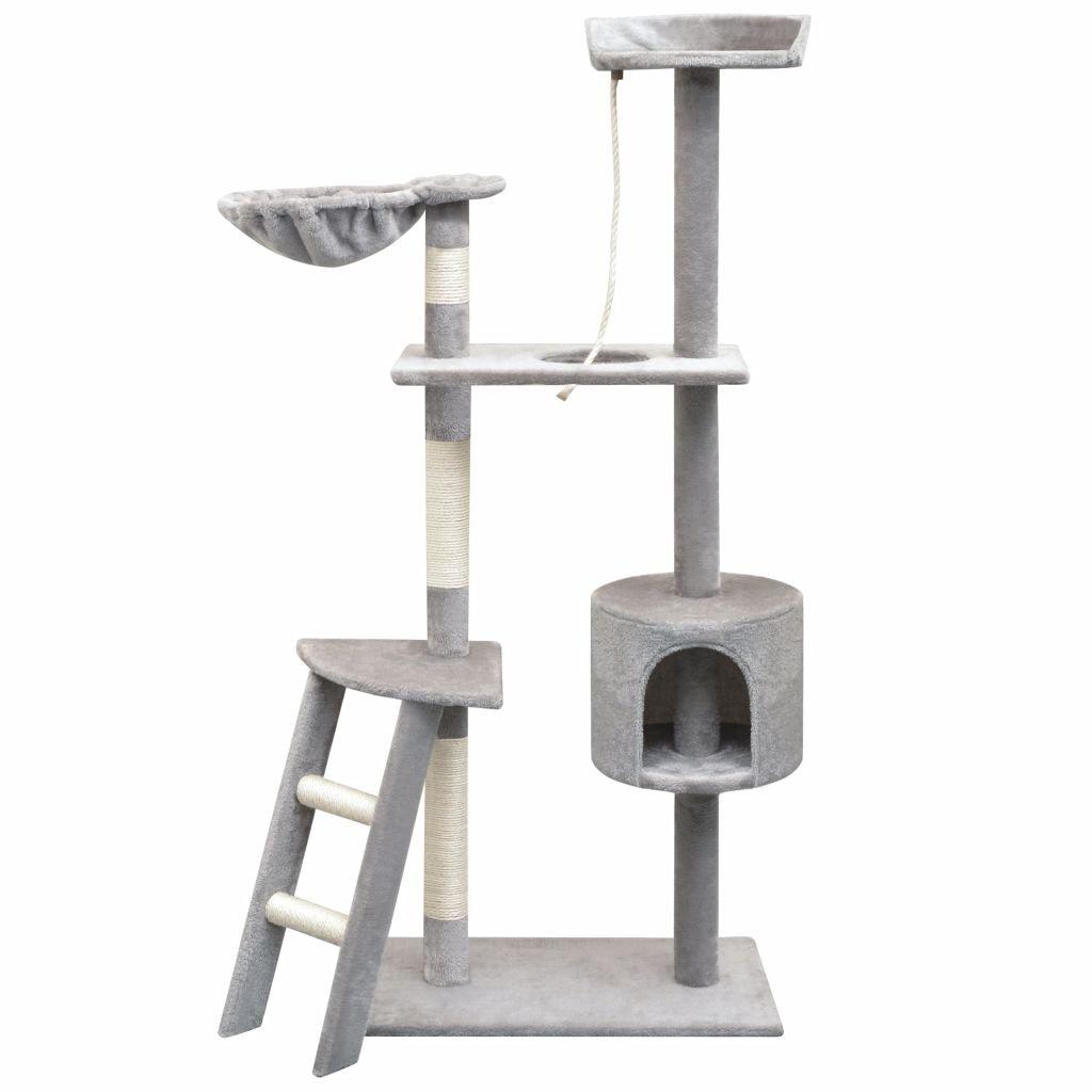 Škrabadlo pro kočky se sisalovými sloupky - šedá   150 cm