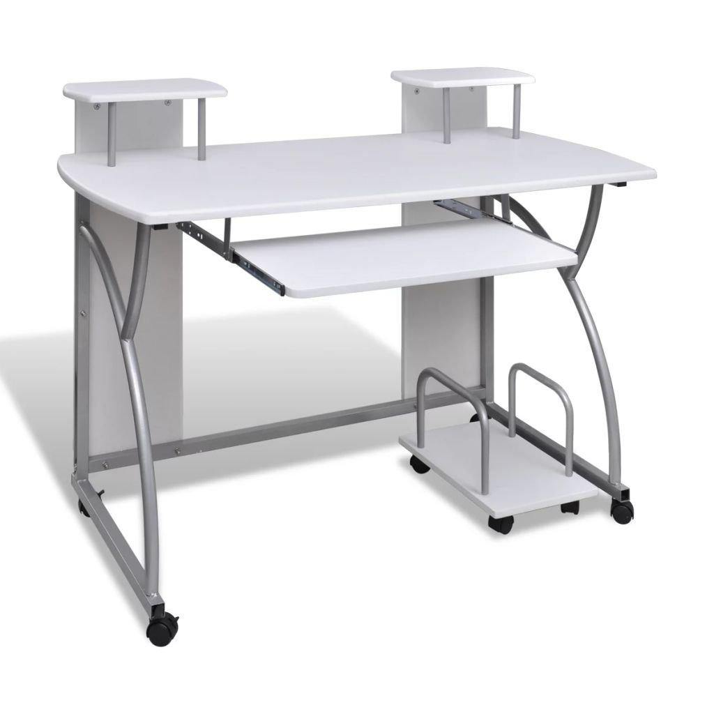 Multifunkční pojízdný počítačový stůl   bílý
