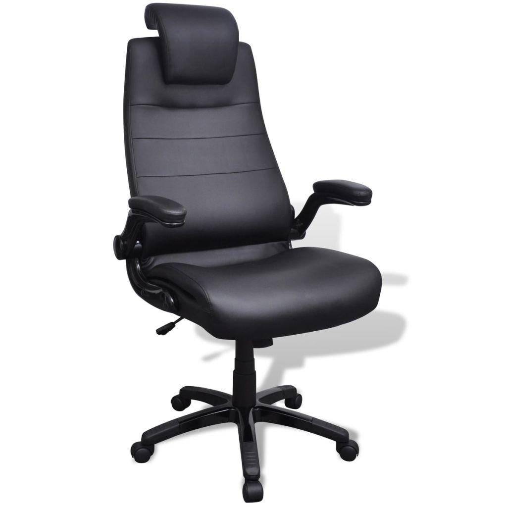 Kancelářské nastavitelné otočné křeslo z umělé kůže - černé