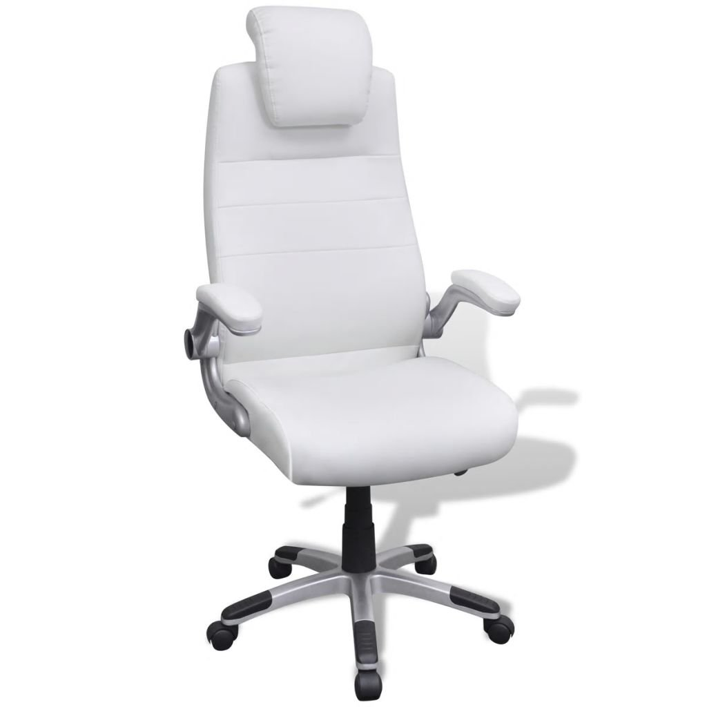 Kancelářské nastavitelné otočné křeslo z umělé kůže - bílé