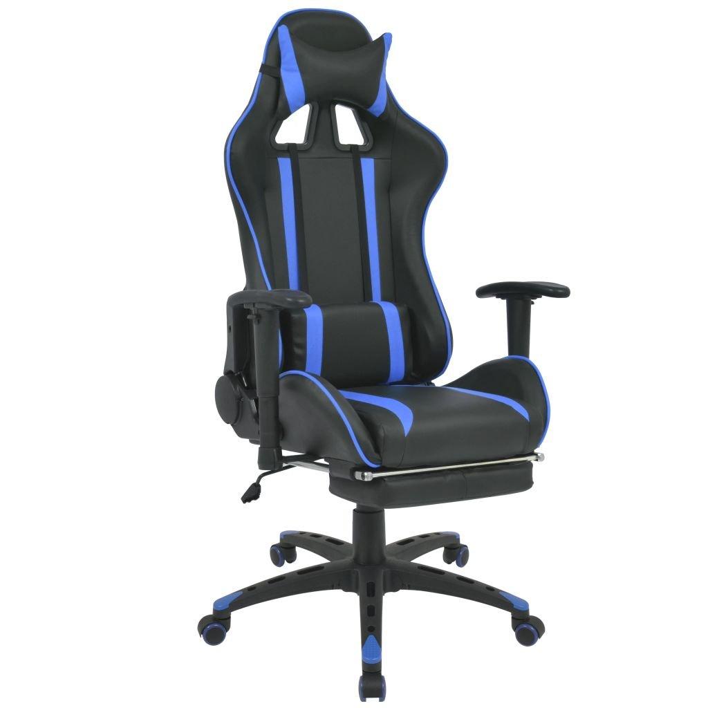 Polohovatelné kancelářské / herní křeslo s podnožkou   modrá