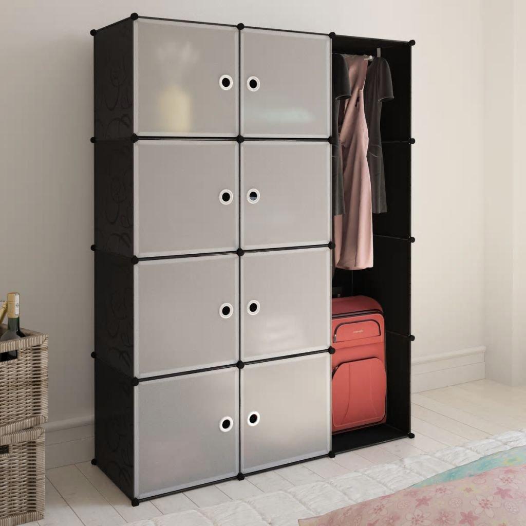 Modulární skříň s 9 přihrádkami - černobílá | 37x115x150 cm