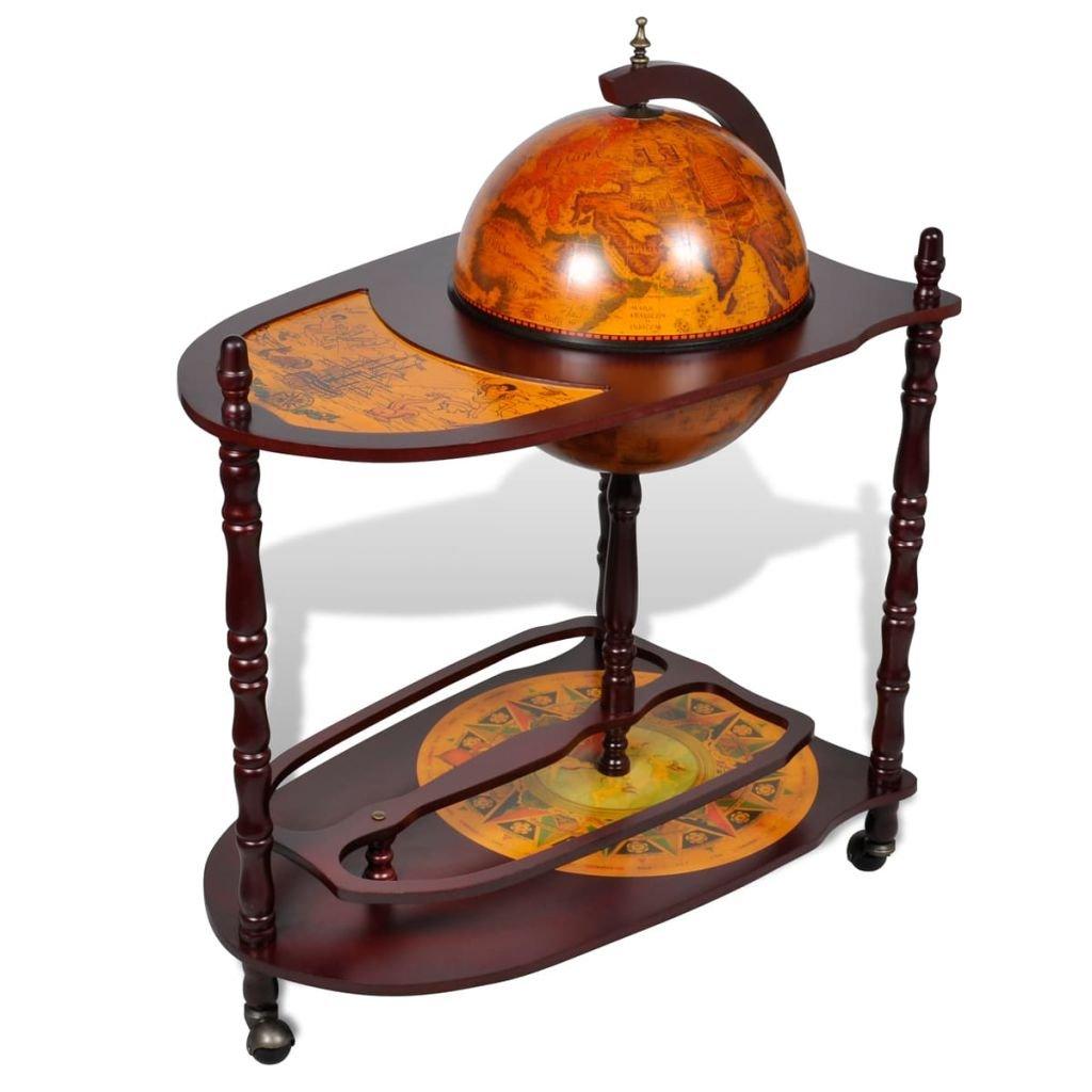 Globus bar stojan na víno | dřevěný volně stojící