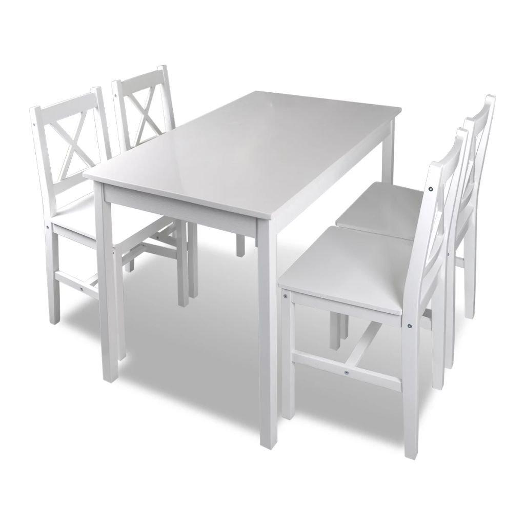 Dřevěný stůl a 4 dřevěné židle | bílá