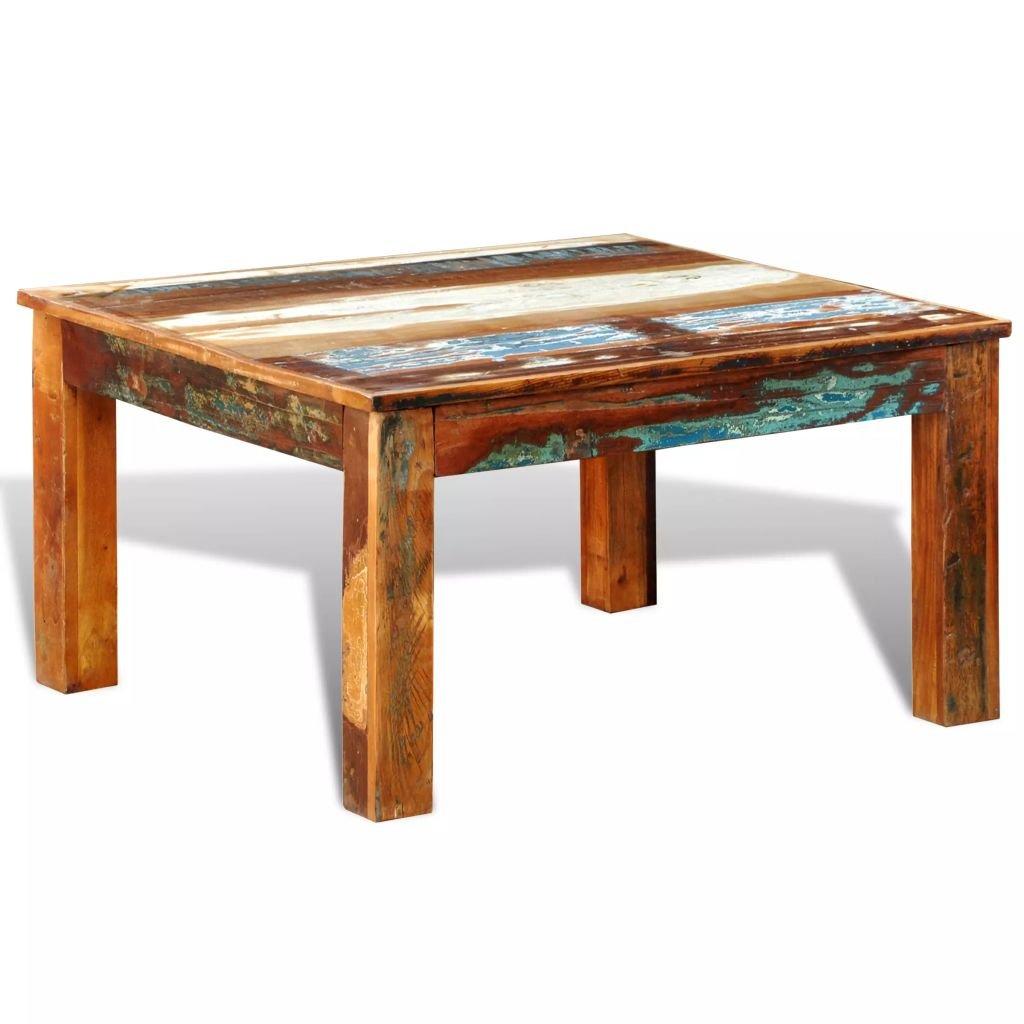 Konferenční stolek z recyklovaného dřeva - čtvercový | starožitný styl