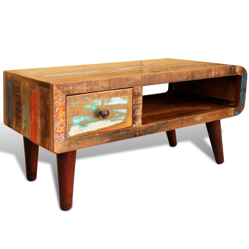 Konferenční stolek - recyklované dřevo - zaoblený okraj | starožitný styl