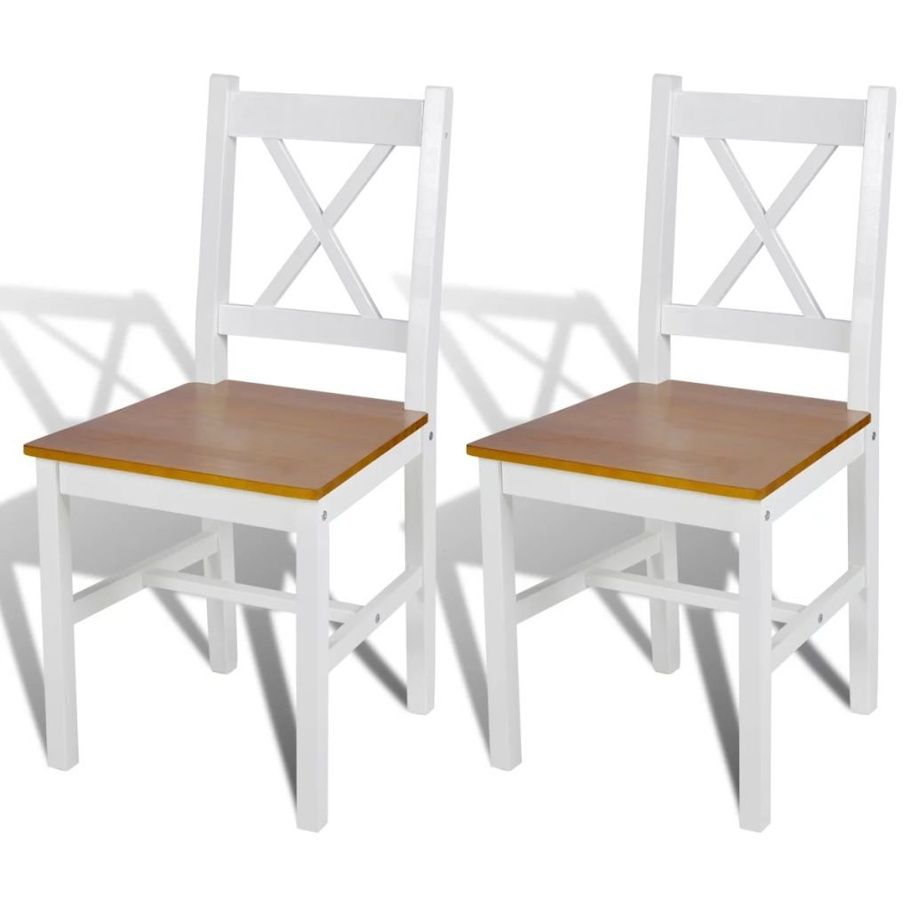 Jídelní židle Elbert - 2 ks - dřevo   bílá a přírodní barva