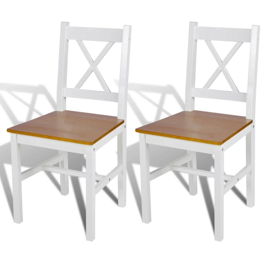 Jídelní židle Elbert - 2 ks - dřevo | bílá a přírodní barva