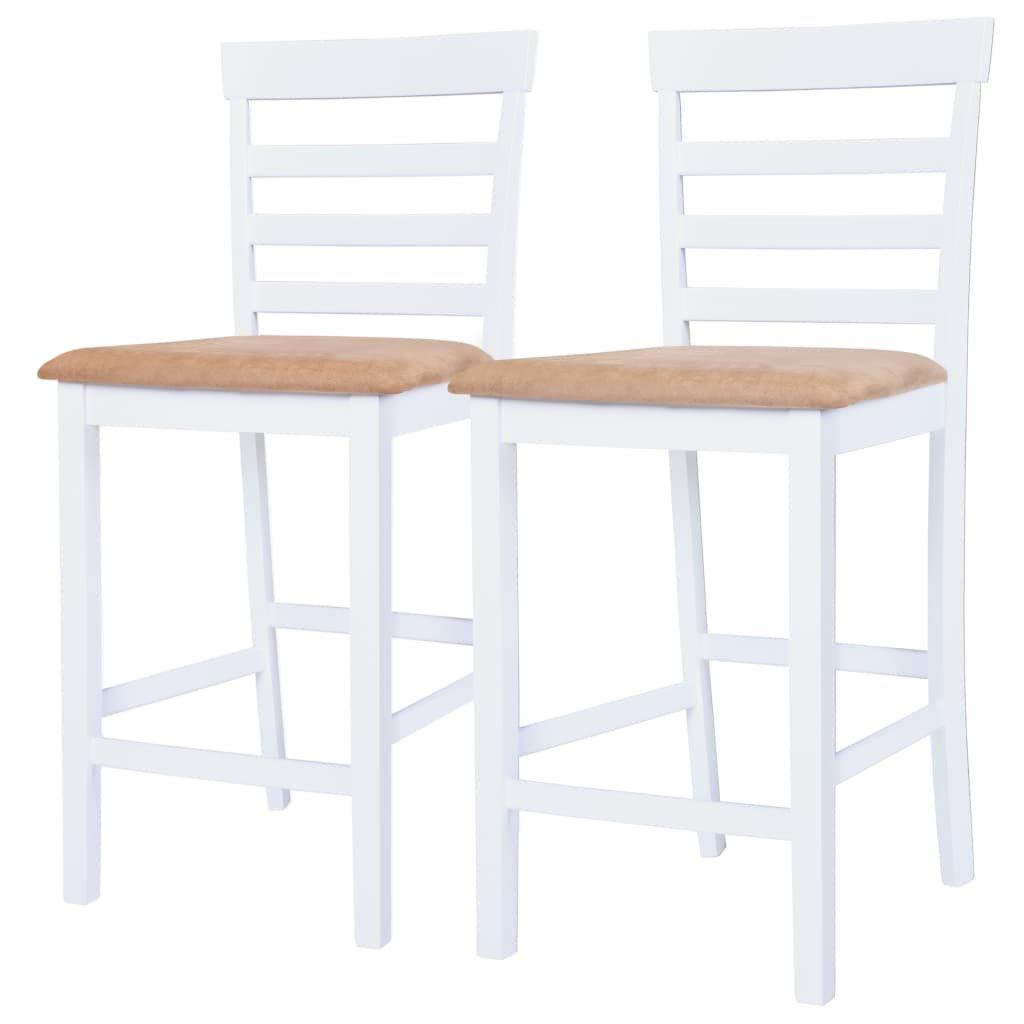 Barové židle dřevěné 2 ks | bílo-béžové