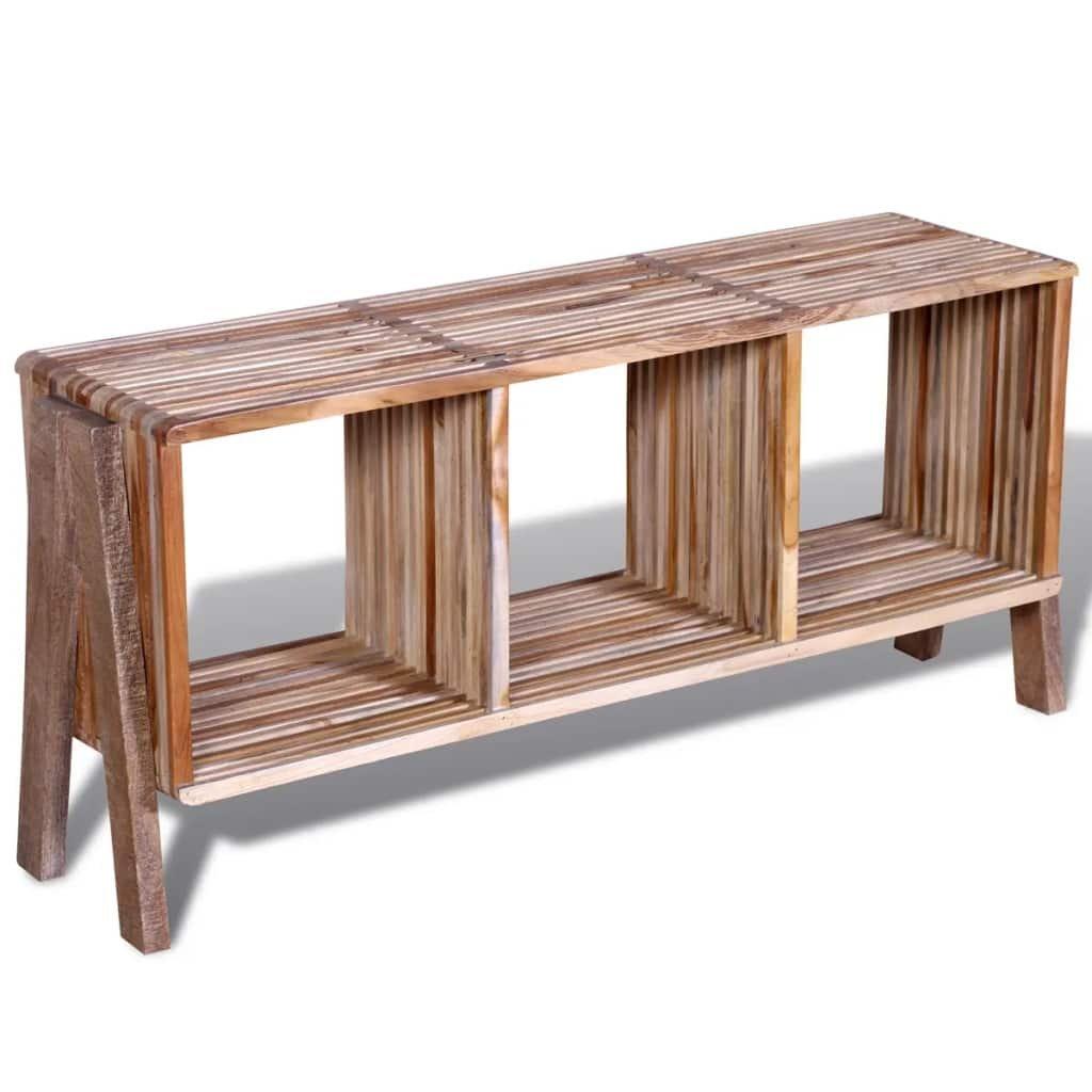 TV stolek se 3 policemi - stohovatelný | recyklovaný teak