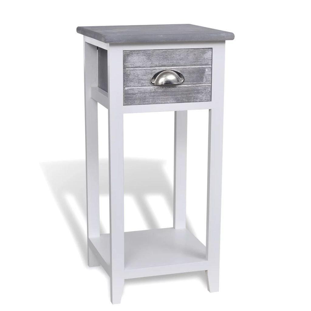 Noční stolek s 1 zásuvkou | šedobílý