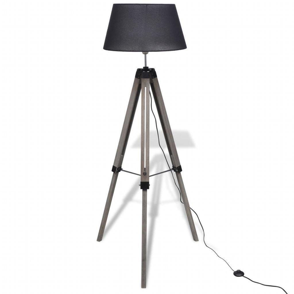 Dřevěná stojací lampa nastavitelná trojnožka | černá