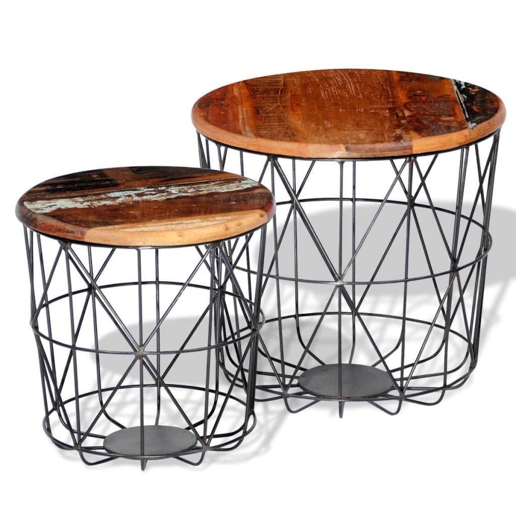 2 Konferenční stolky z recyklovaného dřeva - kulaté | 35 cm/45 cm