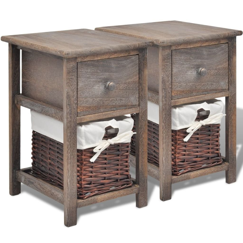 Noční stolky - 2 ks - dřevěné   hnědé