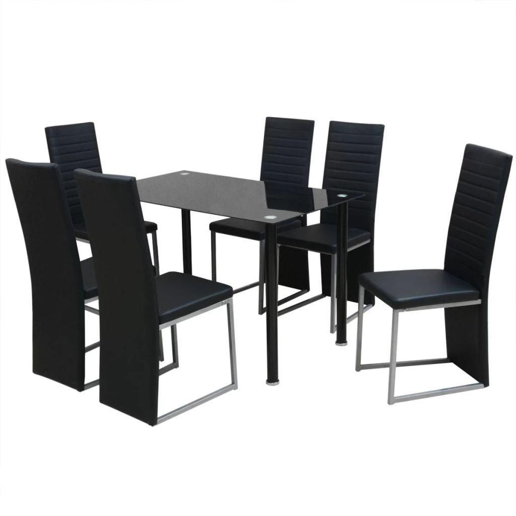 Jídelní set Roxas - 7dílný | černý