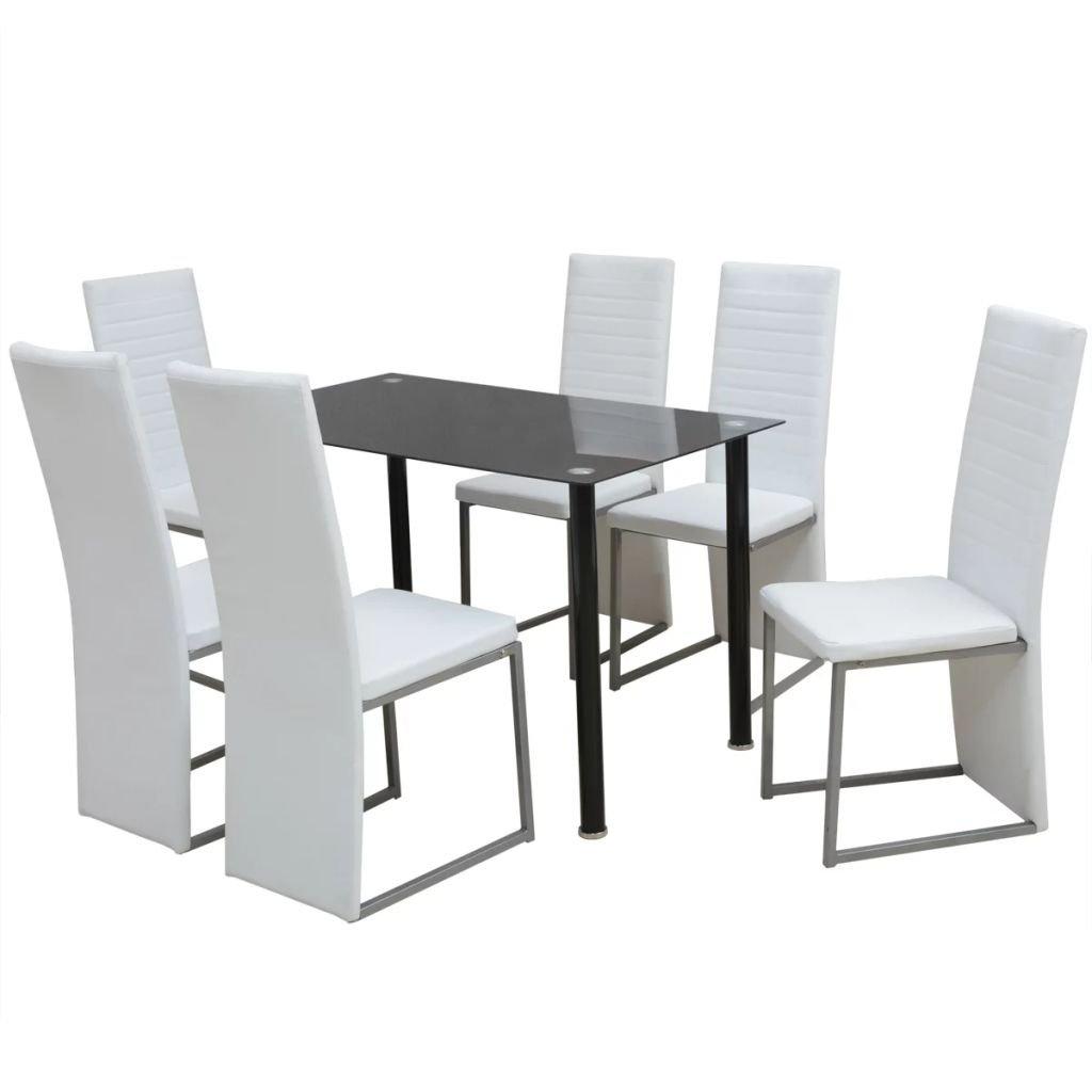 Jídelní set Roxas - 7dílný | černobílý