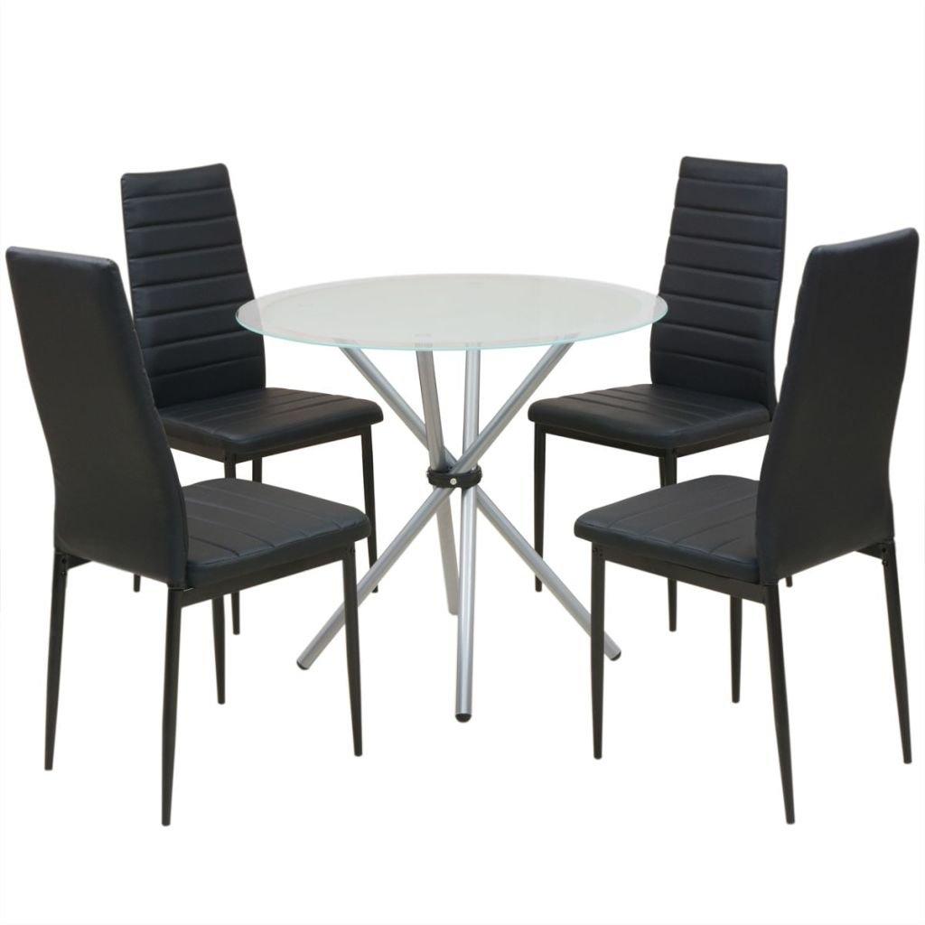5-dílný jídelní set stolu a židlí | černobílý