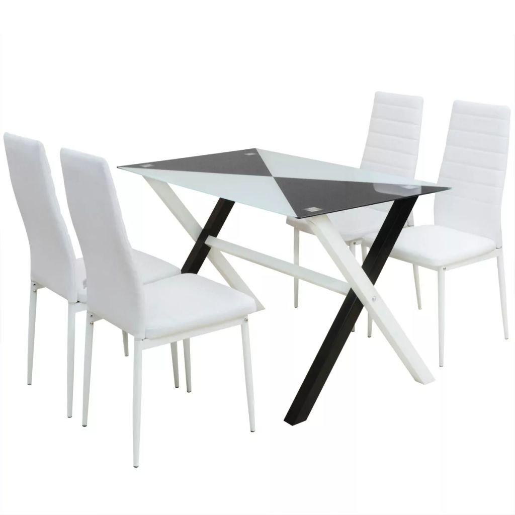 5-dílný jídelní set | stůl a židle z umělé kůže