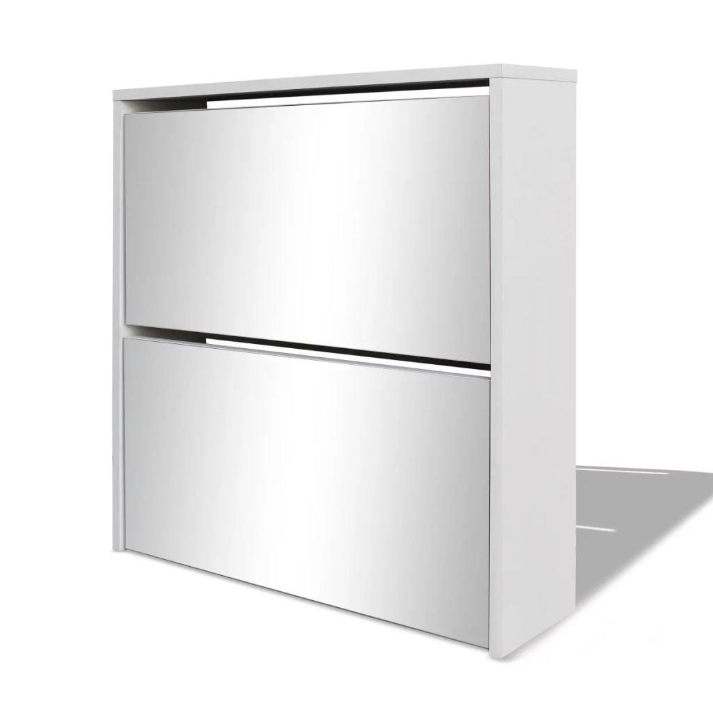 Botník - dvoupatrový - zrcadlový - bílý | 63x17x67 cm